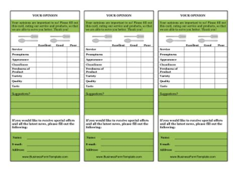free templates of restaurant comment cards restaurant your opinion card template
