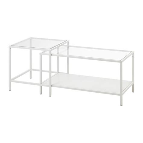 Ikea Glass Coffee Tables Vittsj 214 Nesting Tables Set Of 2 White Glass Ikea