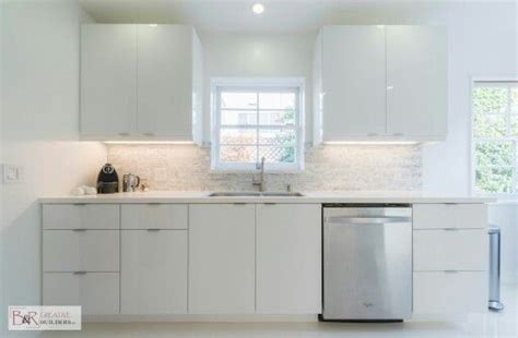 Shiny White Kitchen Cabinets | glossy white flat panel kitchen cabinet someday kitchen