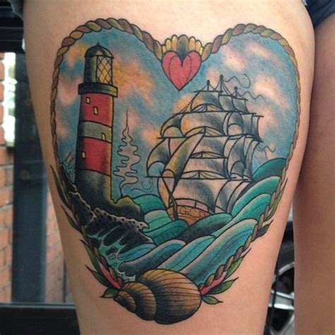 tattoo old school lighthouse tattoo old school traditional nautic ink caravel ship