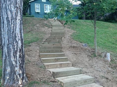 Landscape Timbers Slope Landscaping Steep Steps Steps In Milford Michigan