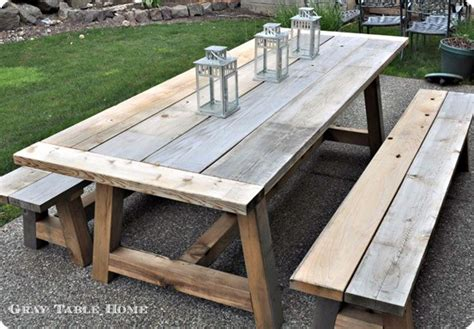 reclaimed wood outdoor dining table  benches