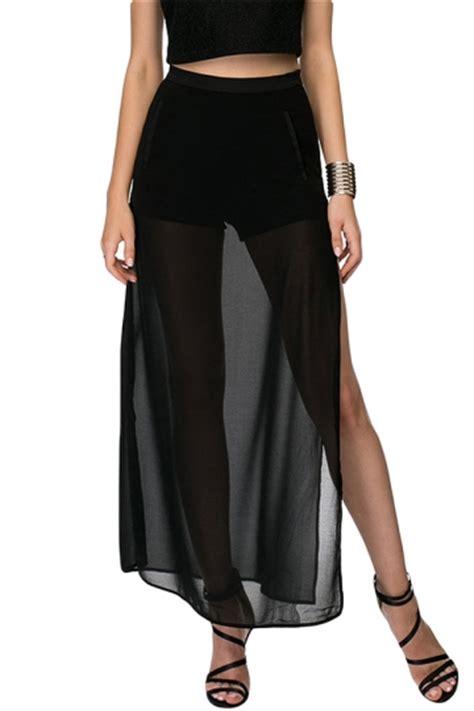 Black Slit Roses S M L Skirt 43355 1 black mesh patchwork sheer side slit maxi