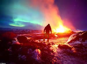 Northern Lights over erupting Icelandic volcano   Daily