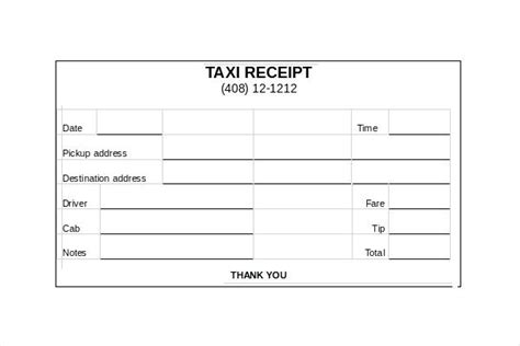 cab receipt template word sle taxi receipt kinoroom club
