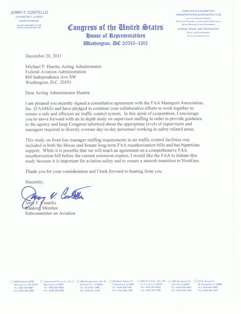 Letter Of Agreement Definition Aviation Costello Letter Faa Managers Association