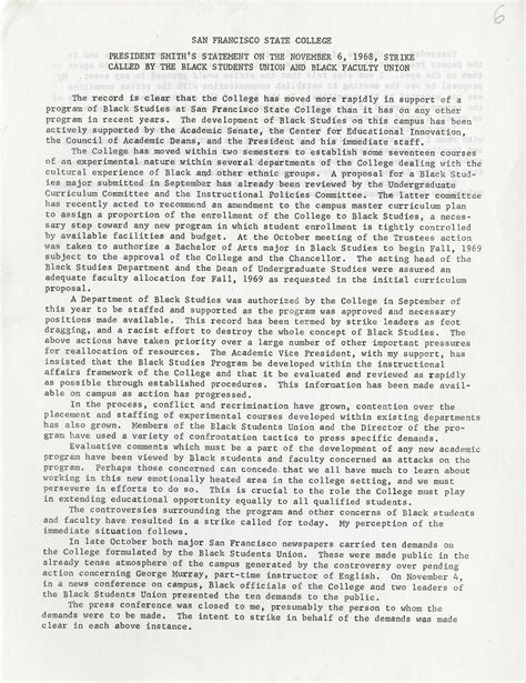 Statements On The Of Smith by President Smith S Statement On The November 6 1968 Strike