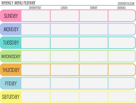 large printable weekly planner meal plan template free printable weekly meal planner