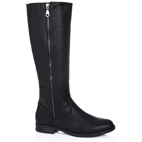 buy top flat zip knee high boots black leather