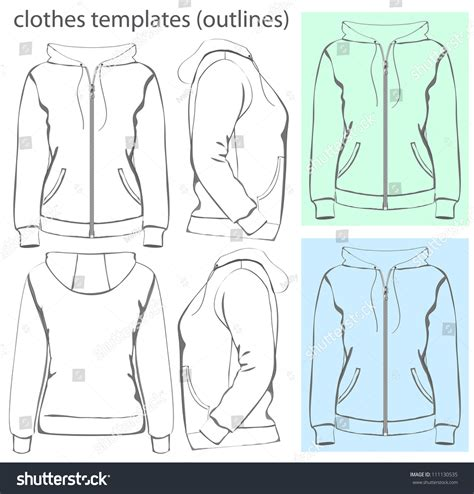 women s hooded sweatshirt with pocket template vector vector women s hooded sweatshirt with zipper and pockets