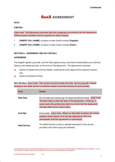 35 Free Contract Templates Sle Templates Saas Agreement Template
