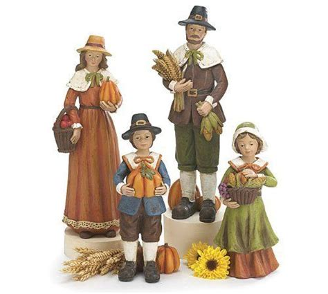 resin pilgrim and indians pilgrims set of and figurine on
