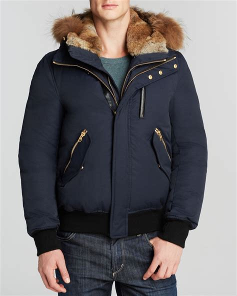 Jaket Navy Bolak Balik 2 In 1 lyst mackage dixon jacket with fur in blue for