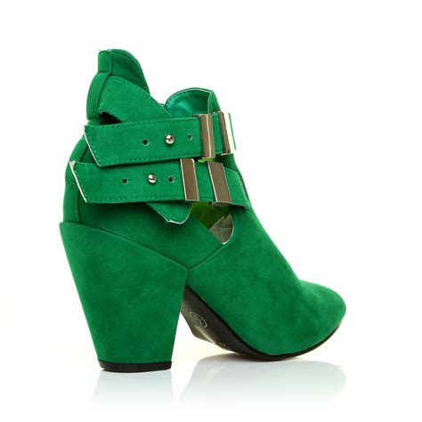fashion suede look high block heel cut out shoe