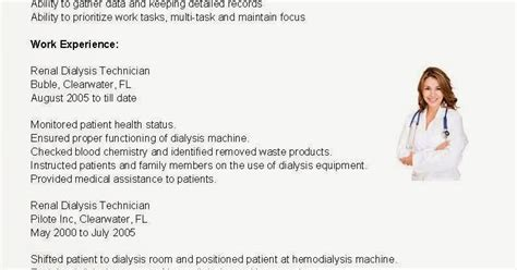 Renal Technician Sle Resume by Dialysis Technician Resume Objective 28 Images Dialysis Technician Resume