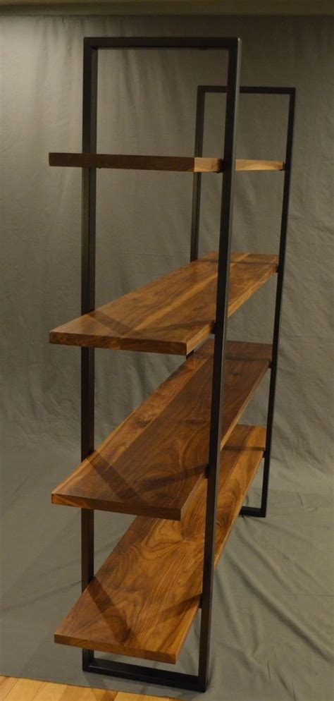 handmade floating walnut and steel bookcase by fabitecture custommade com
