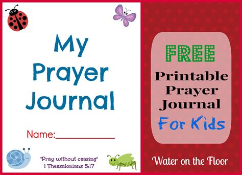 printable children s prayer journal free water on the floor