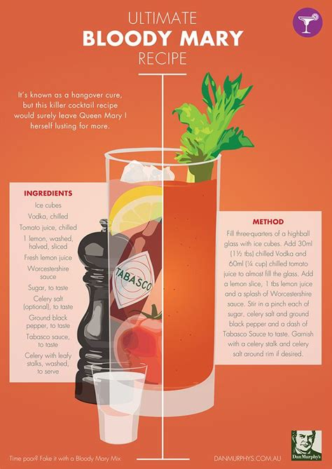 cocktail recipes poster bloody mary recipe drinks pinterest classic