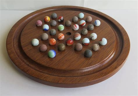 Handmade Marbles - 19th century table marble solitaire board early