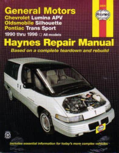vehicle repair manual 1997 pontiac trans sport auto manual haynes gm chevrolet lumina apv oldsmobile silhouette pontiac trans sport 1990 1995 auto repair