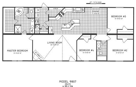 2 bedroom mobile home floor plans 4 bedroom floor plan c 9807 hawks homes manufactured