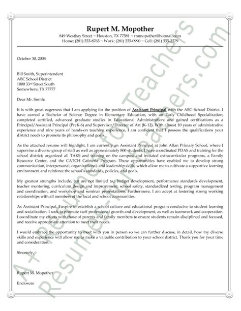 Introduction Letter Principal Assistant Principal Cover Letter Sle