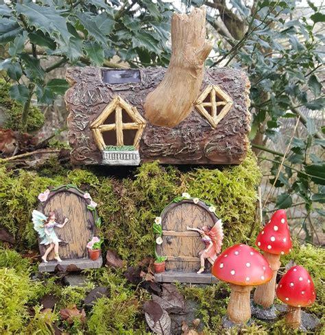solar fairy house solar powered garden fairy house log fairy doors and mushrooms colour changing fairy