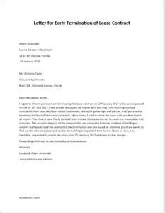 letter of termination 2 letter for early termination of lease contract 1429