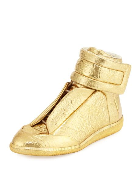 margiela sneakers gold maison margiela future s crinkled leather high top