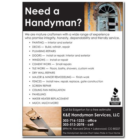 free templates for handyman flyers flyer handyman 171 design dog studio llc graphic design