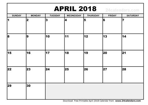 printable calendar 2018 april april 2018 calendar journalingsage com