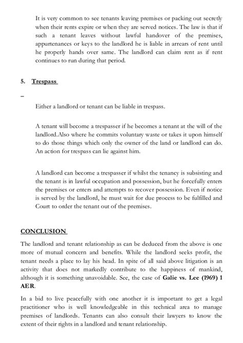 Sle Of Tenancy Agreement Letter In Nigeria The Concept Of Landlord And Tenant