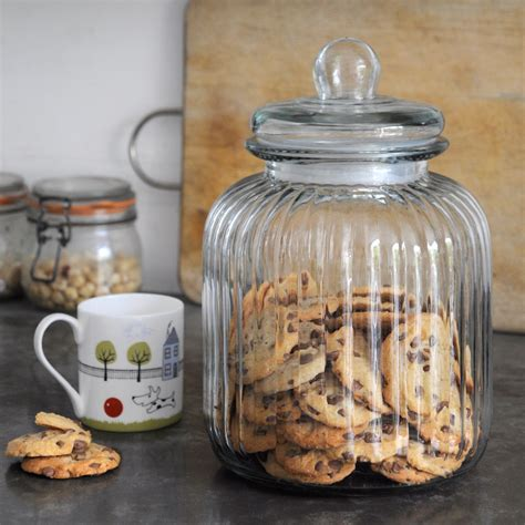 Glass Kitchen Canisters Airtight ridged glass biscuit jar dotcomgiftshop