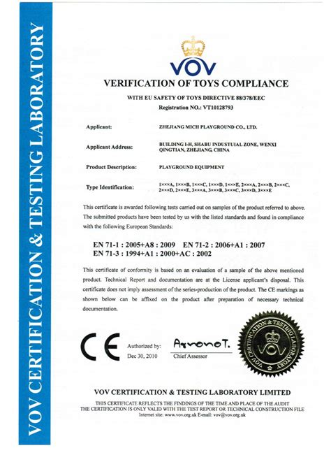 ce certificate of conformity template ce certificate zhejiang mich playground co ltd