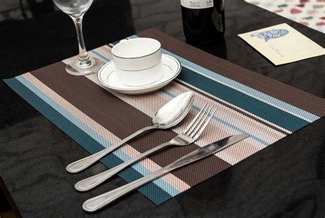 dining table protector mat 4pcs lot blue european style stripe adiabatic placemat mat