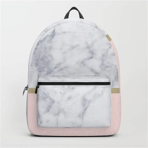 pink pattern backpack marble gold blush pink pattern backpack by xiari society6