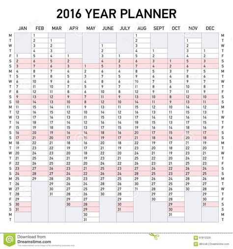 new year 2016 planning ks1 2016 year planner stock vector image 61813329