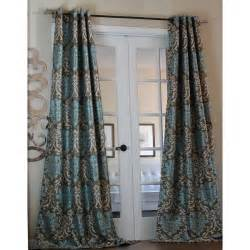 Milan Damask Smoky Teal Curtain Panel 15729662