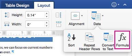 table layout tab word use a formula in a table in word 2016 for mac word for mac