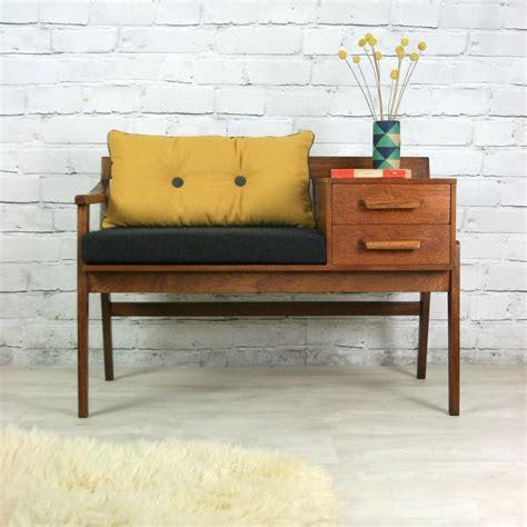 60s furniture vintage teak 1960s telephone seat mustard vintage