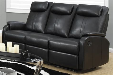 81bk 3 Black Bonded Leather Reclining Sofa From Monarch Black Reclining Leather Sofa