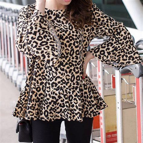 Jy60287 Sleeves Blouse Atasan Top Leopard Collar 47 best images about leopard print tops for on for sleeve and asos curve