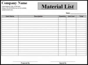 Electrical Material List Template by Material List Template Free Formats Excel Word