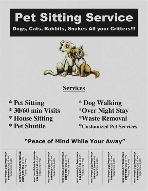 Pet Sitting Flyer Template Arts Arts Pet Sitting Templates Free