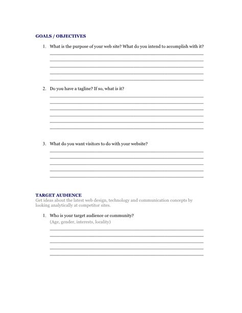 design brief questionnaire sle web design questionnaire