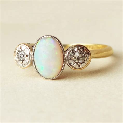 deco opal engagement rings one of a deco opal platinum and 18k gold