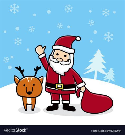 cute cartoon santa  reindeer merry christmas vector image