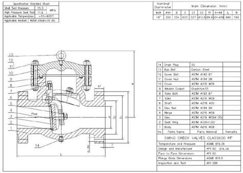 swing check valve dimensions horizontal 14 swing type check valve class 600 rf for oil