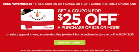 Jcpenney Gift Card Discount - jcpenney 25 off 25 coupon with 100 in gift cards combines with amex offer