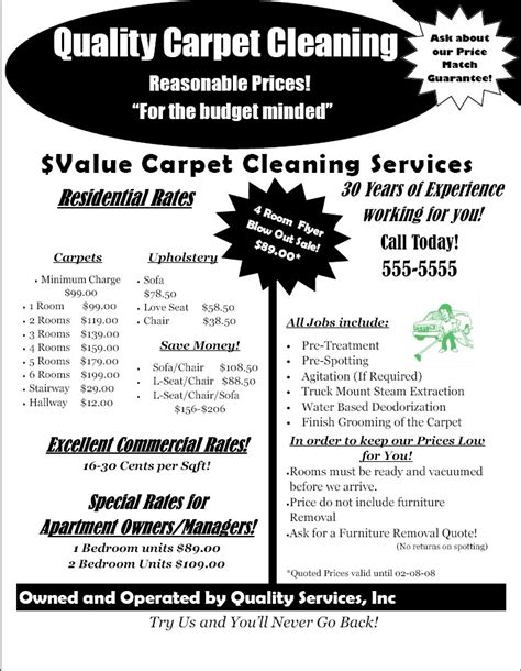 free carpet cleaning flyer templates 10 best images of sle business flyers for crafts